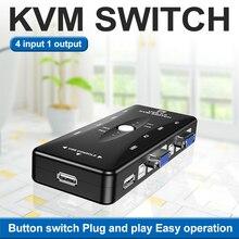 USB KVM Switcher 4x1 VGA Switch KVM Kaixa 4x1 Com Controlador de Mesa 4 em 1 Para Fora Vga Para 4 Anfitrioes Computador ПК