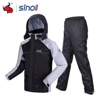 SINOLL Motorcycle Raincoat+Rain Pants Motorcycle Rain Suit Waterproof Motorcycle Rain Jacket Poncho Riding Motorbike Rain Coat