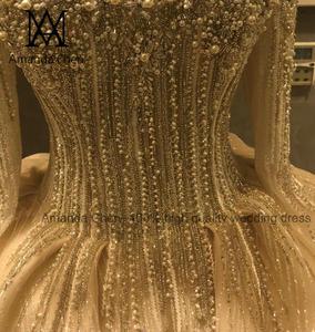 Image 3 - Женское вечернее платье с длинным рукавом, роскошное свадебное платье с жемчугом и кристаллами