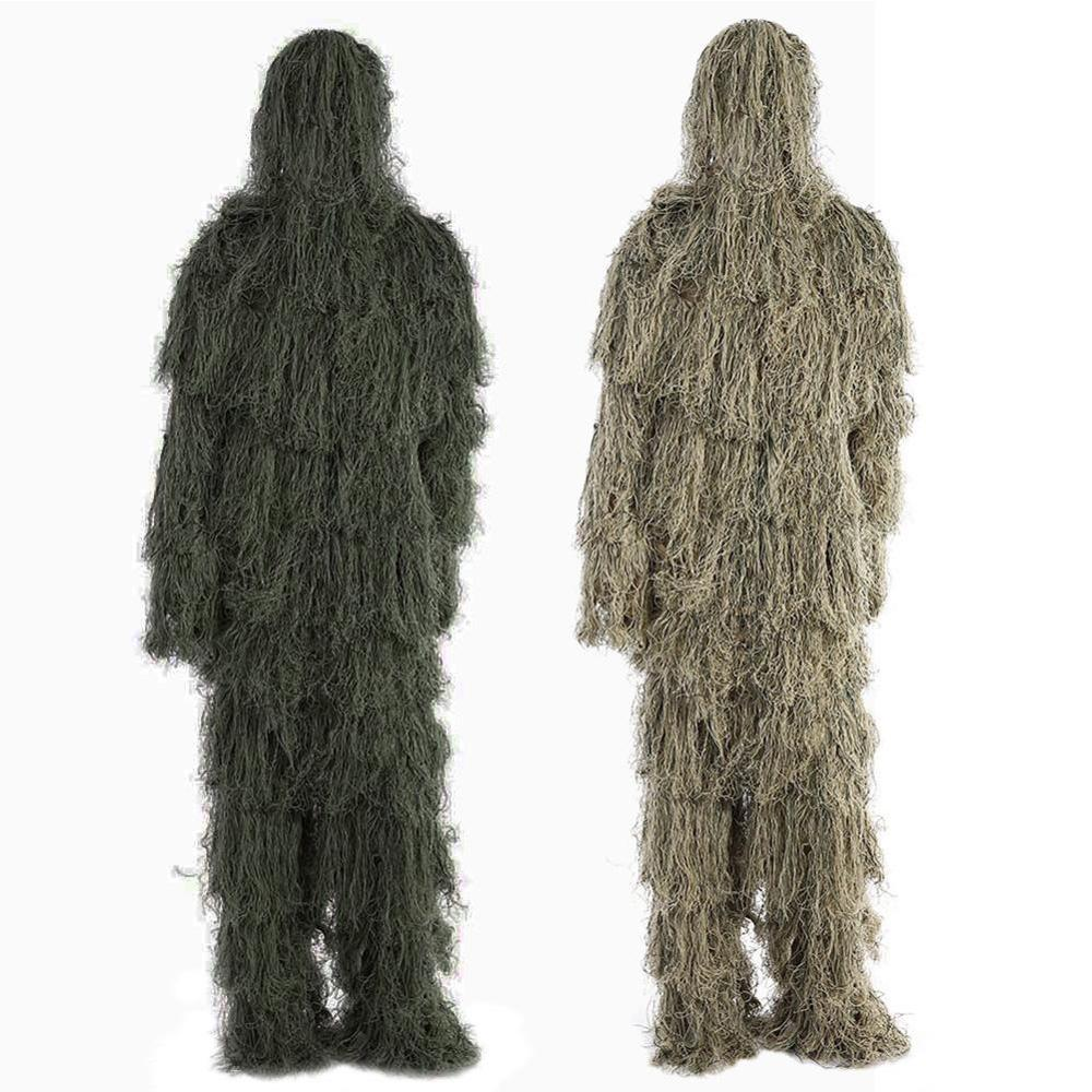 3D Leaf Camo Woodland Sniper Ghillie Suit Kit Cloak Military Polyester Outdoor Camouflage <font><b>Jungle</b></font> Hunting Birding Suits Wholesale image