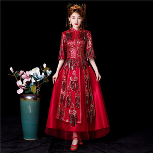 Image 2 - Bridesmaid Dresses Long Limited Toast The New 2020 Suits Chinese Wedding Dress Sewing Clothes Xiuhe Summer Clothing Cheongsam