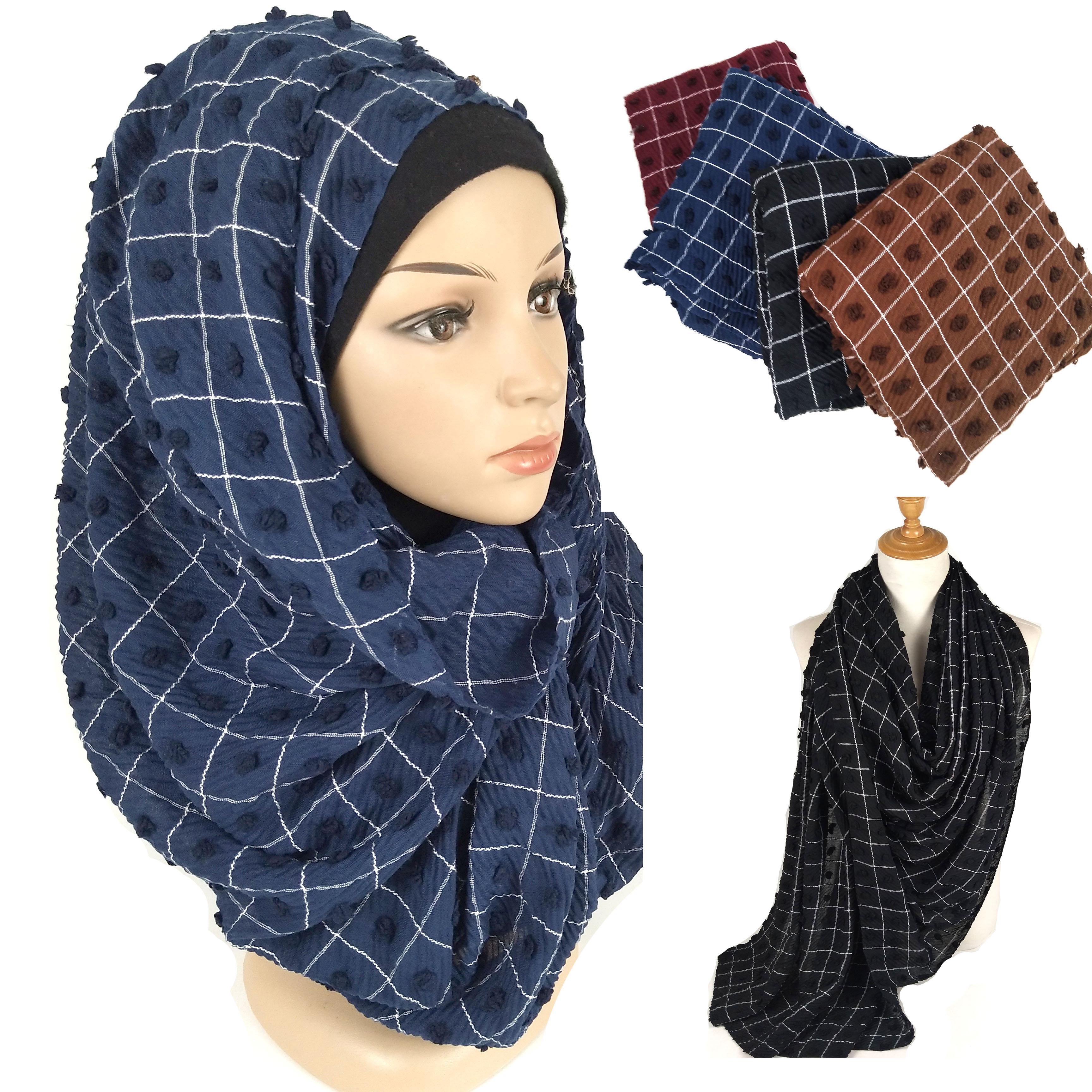 v2 10pcs High quality stripe crinkle cotton viscose hijab shawl women   scarf     wrap   headband lady underscarf can choose colors