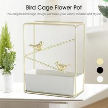 Nordic Minimalist Wrought Iron Ceramic Pots Gold-plated Wall-mounted Fleshy Flower Pot Set Bird Cage Rack