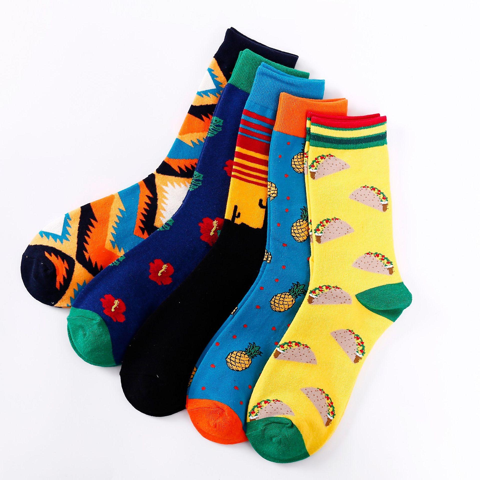 Colorful Women Men Socks Crew Socks Cotton Socks New Sandwiches Pineapple Socks Happy Funny Harajuku