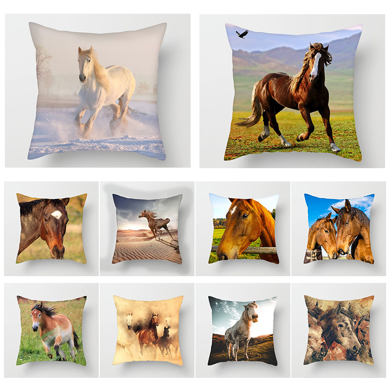 Fuwatacchi Wild Grassland Horse Cushion Cover Wild Animals Throw Pillows Case For Home Chair Sofa Decorative Pillow Covers 2019