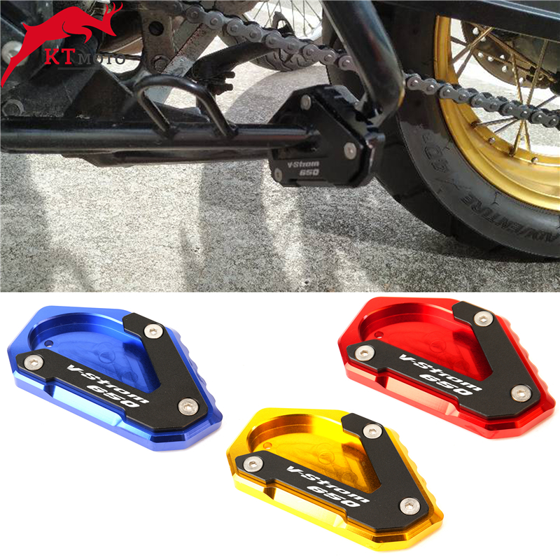 Titanium Hunter-Bike Motorcycle Kickstand Extension Pad CNC Aluminum Foot Side Support Stand Plate For Suzuki DL650 V-Strom 650 2012-2019