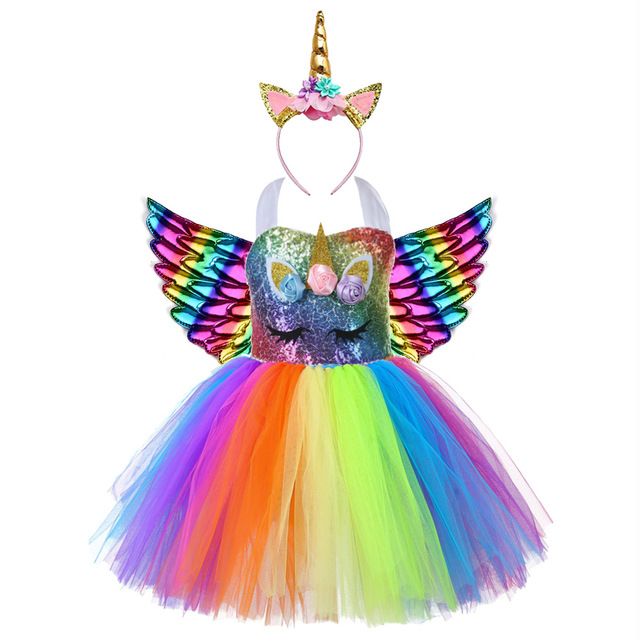 Cute Kids Unicorn Theme Birthday Party Unicorn Dress Girl Rainbow Sequin Top Christmas Dress for Baby Girls Unicorn Baby Clothes