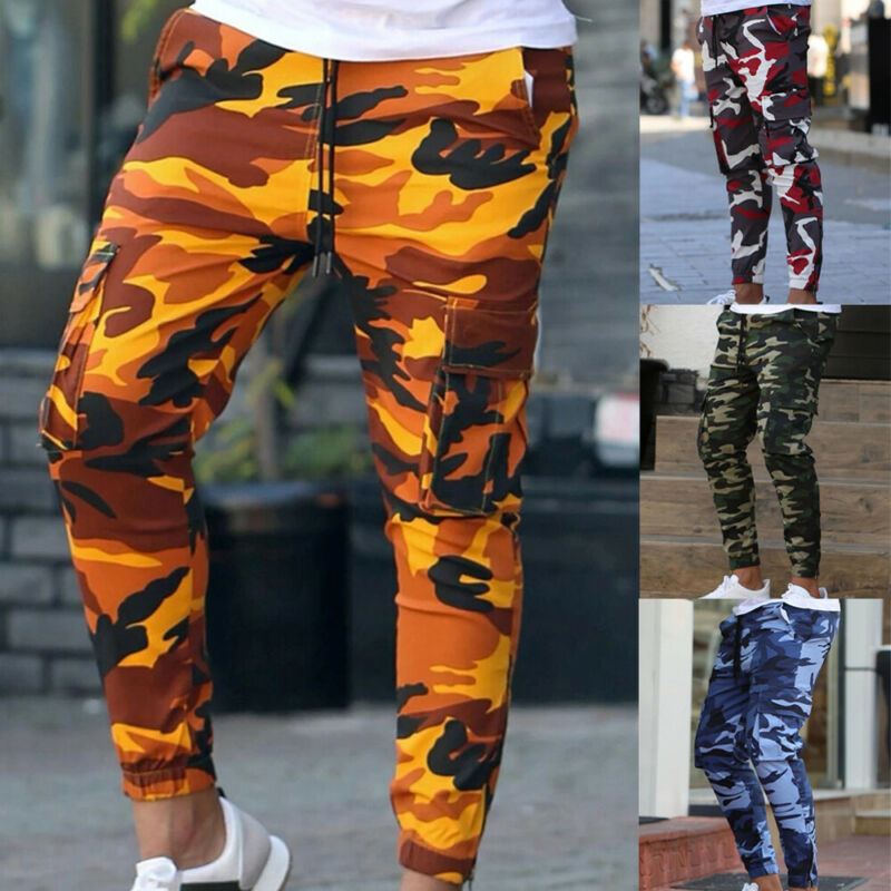 New Mens Cargo Pocket Outdoor Camouflage Gym Sport Pants Camo Jogger Military Pants Loose Comfortable Running Joggers Trousers
