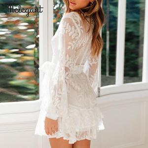 Image 2 - Melegant Sexy White Lace Ruffle Dress Embroidery Party Dress Women Autumn Winter Long Sleeve Transparent Mesh Mini Dress Vestido