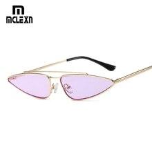 MCLEXN Metal Frame Small Cat Eye Sunglasses Women New Brand Designer Retro Black