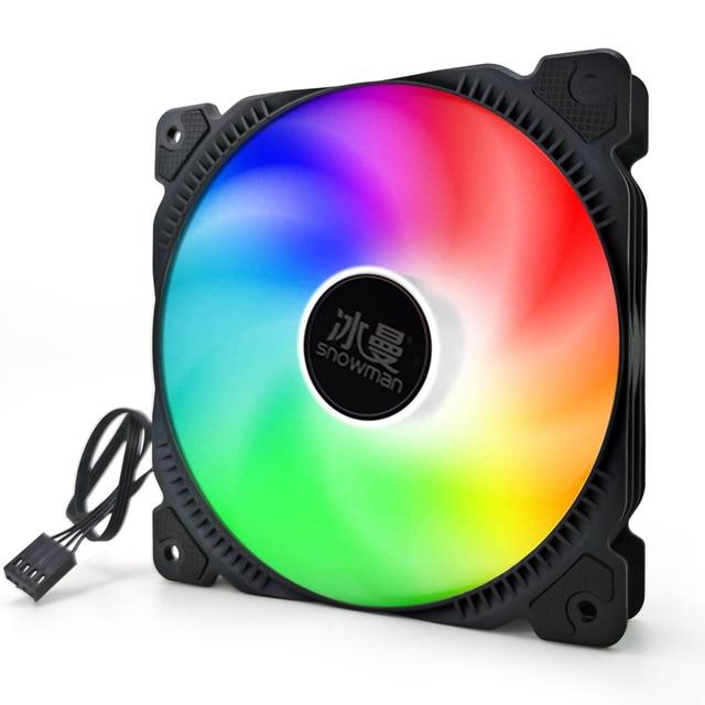 SNOWMAN PWM 4 Pin 120mm Computer Case Fan Silent 12CM Fan CPU Cooling RGB Quiet PC Cooler Fan Case Fans 12V DC Adjust Fan Speed 3