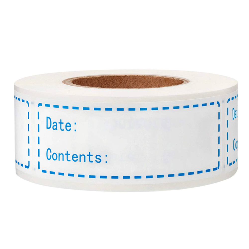 150pcs Date And Content Stickers Self-Adhesive Removable Freezer Refrigerator Food Storage Paper Sticker Labels White 25X75Mm