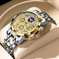 LIGE 2021 erkek saatler paslanmaz çelik Quartz saat adam marka lüks ay fazı saatı su geçirmez erkekler Chronograph Relogios