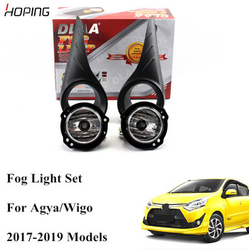 Hoping 1 Set High Quality Front Bumper Fog Light Assemably For TOYOTA  AGYA /WIGO 2017 2018 2019 Halogen Wiring Switch