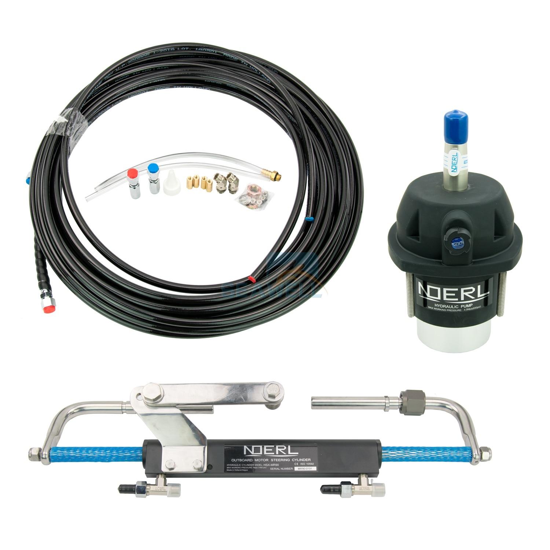Kit de sistema de dirección marina para fueraborda de barco hidráulico, cilindro de aceite hidráulico, timón 90HP