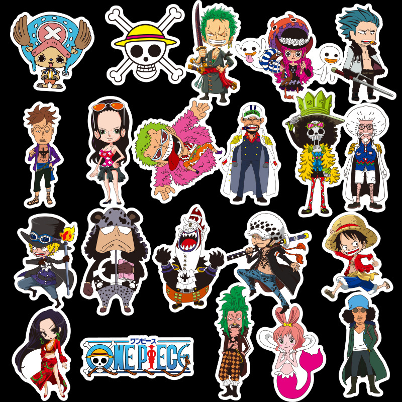 48pcs Cartoons Anime ONE PIECE Children Waterproof Stickers Skateboard Guitar Suitcase Graffiti Sticker Kids Classic Toy