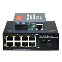10/100 Mbps Fiber Optic Media Chuyển Đổi 1 CH * SC 8 CH * RJ45 Chuyển Đổi 1 CH * SC 1 CH * RJ45 Thu Phát Quang 1 Cặp