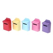 Mailbox Miniature Wood 1:12 Dollhouse Garden-Door-Accessories Fairy Candy-Color