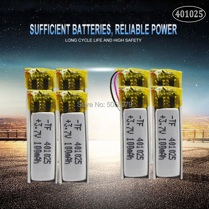 10pcs 3.7V 70mAh <font><b>401025</b></font> PLIB Polymer Lithium ion / Li-ion Battery for GPS MP3 MP4 MP5 DVD Bluetooth Model Toy Mobile Bluetooth image