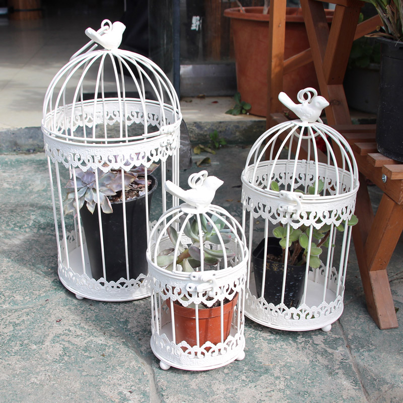 Modern Iron Wrought Metal Birdcage White Small Middle Sets Large Bird Cage Decoration Hanging Flowerpot Succulent Plants Flower Pots Planters Aliexpress