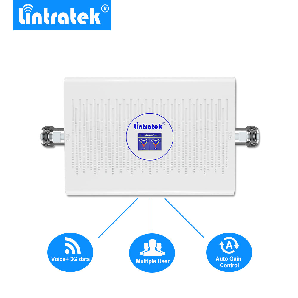 Lintratek 70dB 23dBm GSM 3G Cell Signal Booster UMTS 2100mhz GSM 900mhz Cellular Signal Repeater AGC/ALC Amplifier NEW Arrival @