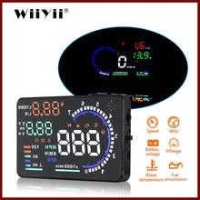 Wiiyii a8 hud head up display obd2 ii euobd sistema de aviso excesso velocidade do projetor brisa tensão alarme carro universal hud