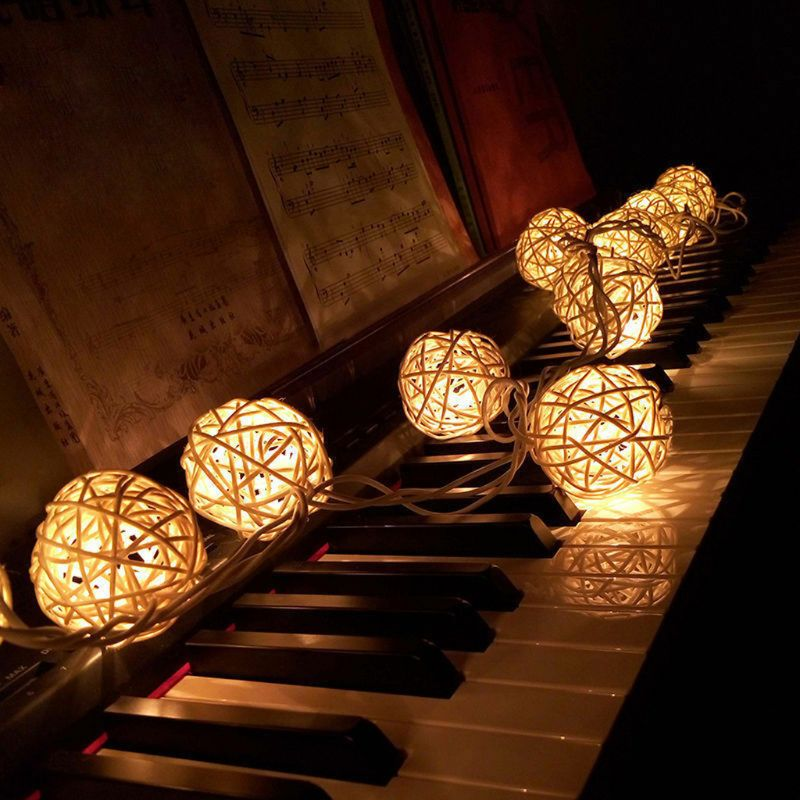 20LED Rattan Ball Battery String Fairy Lights Xmas Party Wedding Lamp E65B