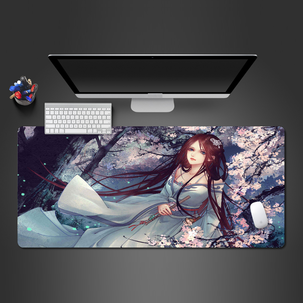 Best-selling Chinese Girl Mouse Pad Advanced Game Player Large Lock Natural Rubber Mousepad Notebook Computer Keyboard Mats