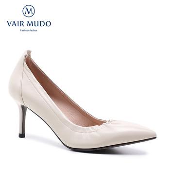 VAIR MUDO damskie czółenka modne szpilki buty różowe żółte buty damskie buty ślubne damskie buty eleganckie obuwie D39L tanie i dobre opinie podstawowe PRAWDZIWA SKÓRA Skóra bydlęca Wysoka (5 cm-8 cm) Dobrze pasuje do rozmiaru wybierz swój normalny rozmiar