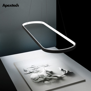 Image 1 - Post Modern LED Chandelier Runway Aureole Pendant Lamp  Dining room Kitchen Table Suspension Luminaires 2.4G Remote Control