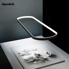 Post nowoczesny żyrandol LED Runway Aureole lampa wisząca jadalnia stół kuchenny zawieszenie oprawy 2.4G pilot