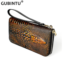 Creative Long Genuine Leather Wallet for Men Crocodile Pattern RFID Anti-theft Men's Clutch Bag Large Capacity Ladies Purses New