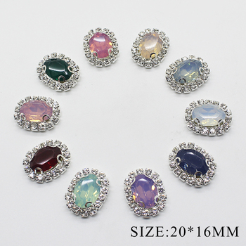 10pcs /lot 20*15MM Oval Rhinestone Flatback Snap Sewing Button for Clothing Manualidades Diy Accessories Craft Decorative image