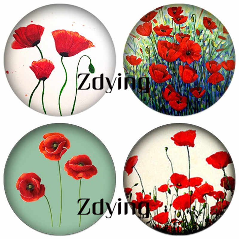 ZDYING Wholesale 5pcs Handmade Red Poppy Flower Photo Round Glass Cabochon Beads Diy Jewelry Findings For Earrings Brooch YS007