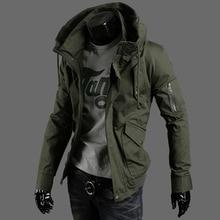 Autumn Fashion Casual Mens Jacket Army Green Pocket Zipper Slim Solid Color Collar  lil peep harajuku Cotton Sweatshirts