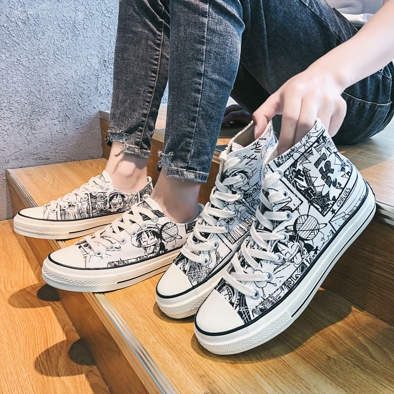 INS Japan Cartoon Fashion HIPHOP Breathable Classic High Mens Canvas Sneakers  Hightop Vulcanized Shoes Men Canvas Shoes Casual
