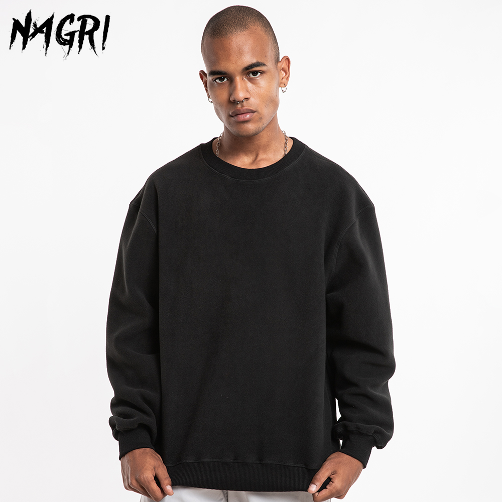 NAGRI Men Solid Color Sweatshirt Hip Hop Streetwear Casual Fleece Sweatshirts Autumn Winter Long Sleeve Pullover Hoodie