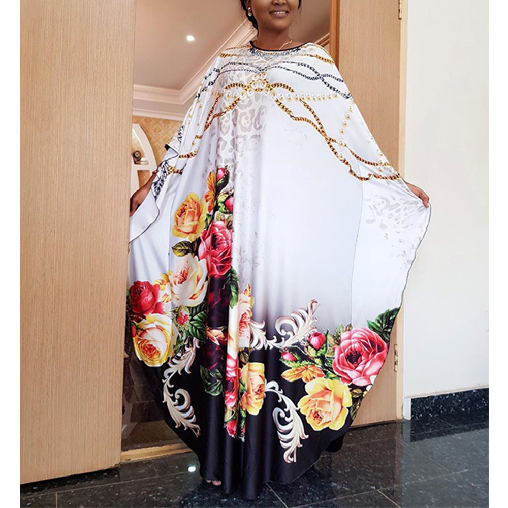 New Fashion Design African Dress Women's Clothes Dashiki Flower Pattern Printed Polyester Batwing Sleeve Casual Long Loose Dress
