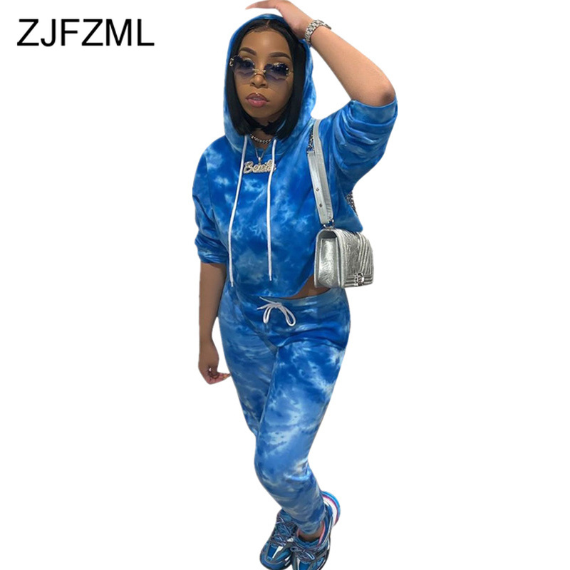Tie Dyeing Sexy 2 Piece Tracksuits Women Festival Clothes Full Sleeve Hooded Crop Tops And Harem Pants Casual Plus Size Outfits