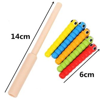 1 Wand + 5 Worms For Catch Worm Game Strawberry Grasping Baby Wooden Toys L41D 1