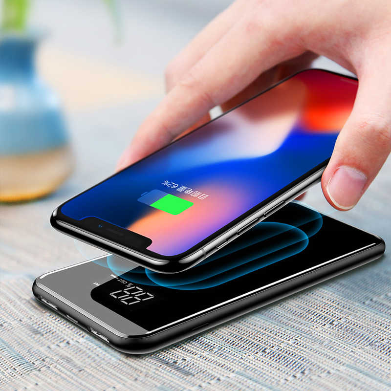 Qi Wireless Charger untuk Iphone Samsung 30000 MAh Power Bank External Battery Bank Built-In Nirkabel Charger Powerbank Portable