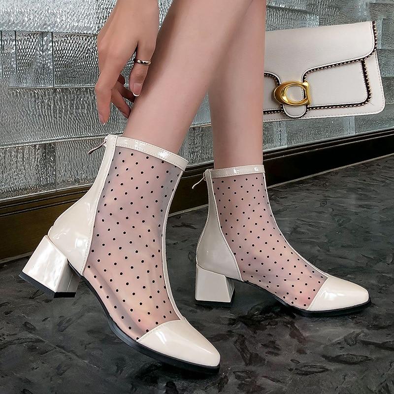 botas altas de couro patente malha zíper