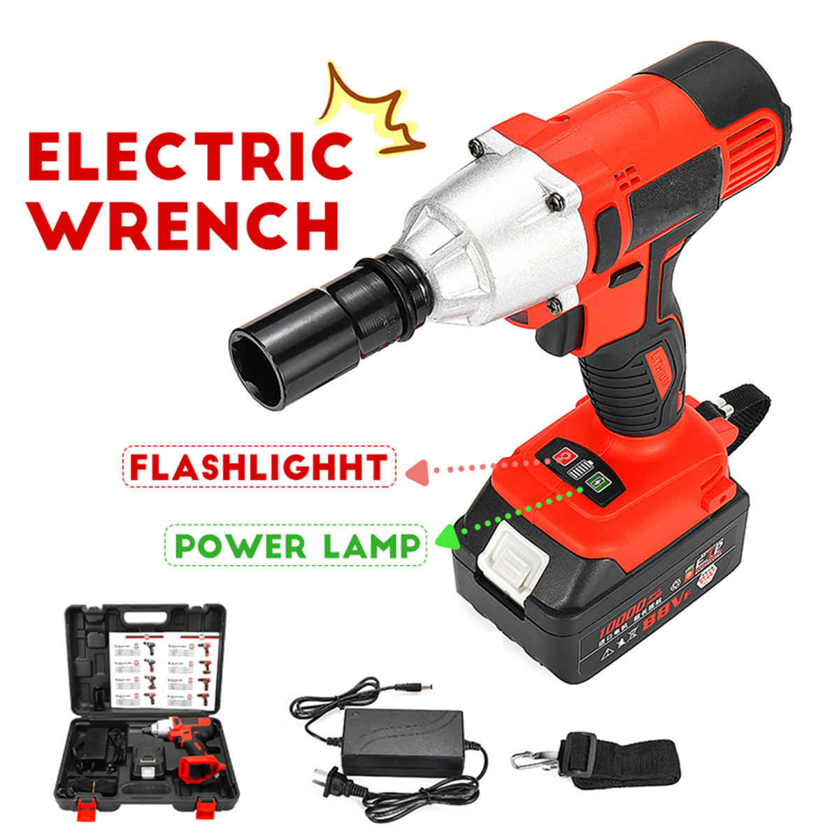 "128TV Cordless Impact Wrench 280N.M 1/2"" Socket Li-ion Battery Electric Wrench Power Tools Household Car Wheel Car Repair Tool"