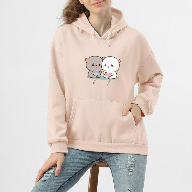 Cute Cat Printed Hoodies Women Autumn Loose Sweatshirt Female Itself Harajuku Kawaii Hooded Pullover Thicken Couple Coat 3