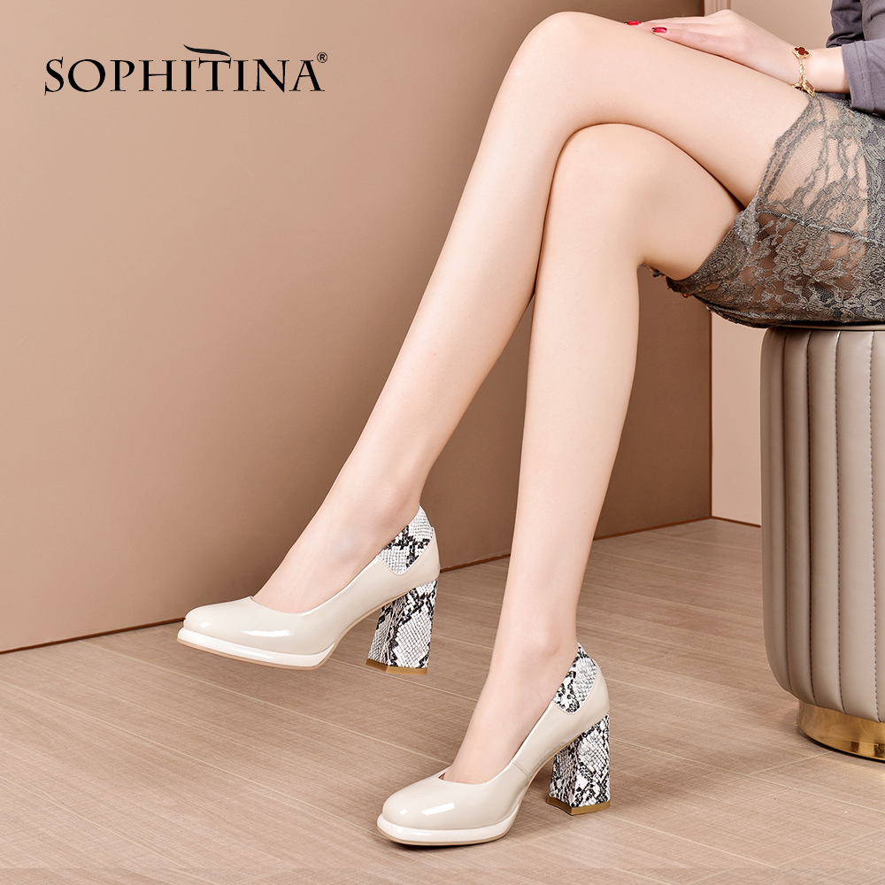 SOPHITINA New Fashionable Women Pumps Square Heel Python Print Round Toe Slip-On Mature Shoes High Quality Sheepskin Pumps SO410