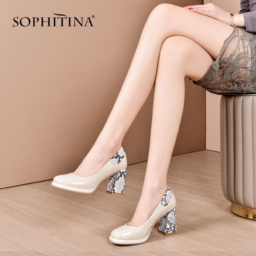 SOPHITINA New Fashionable Women Pumps Square Heel Python Print Round Toe Slip-On Mature Shoes High Quality Sheepskin Pumps SO410