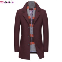 Wayelle Top Brand Men Winter Jacket Coat Business Casual Solid Color Soft Warm Male Clothes Concise Comfortable Cuffs