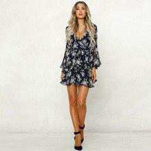 Женское шифоновое платье с глубоким v-образным вырезом и длинным рукавом, летнее короткое платье в стиле бохо для вечеринки, Пляжное цветочное праздничное стильное платье