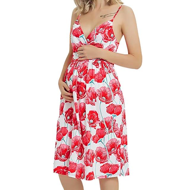 Long Maternity Floral Dresses for Women 3