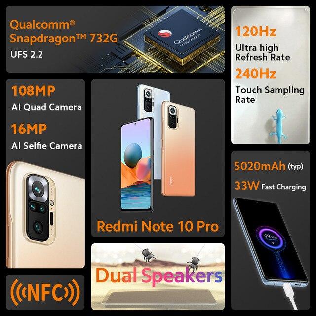 Global Version Xiaomi Redmi Note 10 Pro Mobile Phone 64GB/128GB Snapdragon 732G Octa Core 108MP Quad Camera 5020mAh Battery 2